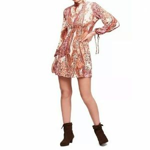 FREE PEOPLE All Dolled Up Paisley Shift Mini Dress